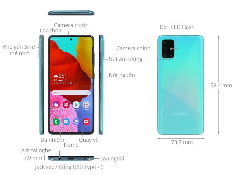 Kích thước Galaxy A51