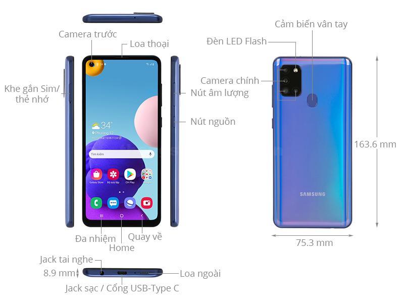 Kích thước Samsung Galaxy A21s 2020