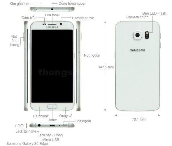 Kích thước Samsung Galaxy S6 Edge 2015