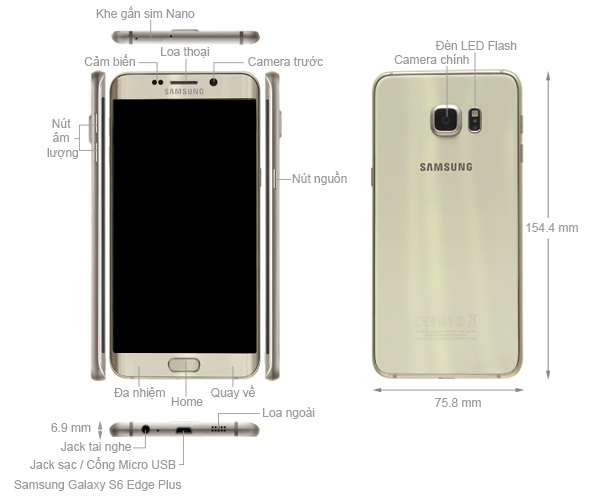 Thiết kế Samsung Galaxy S6 Edge+ Plus