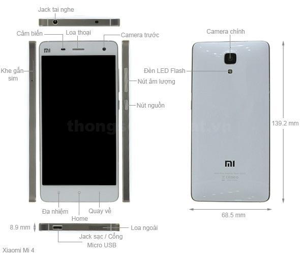 Thiết kế Xiaomi Mi 4 2014