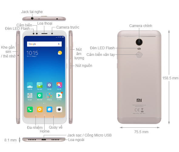 Thiết kế Xiaomi Redmi 5 Plus (Redmi Note 5) 2018