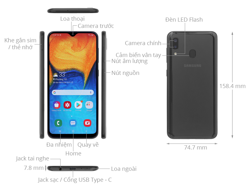 Thiết kế Samsung Galaxy A20 2019