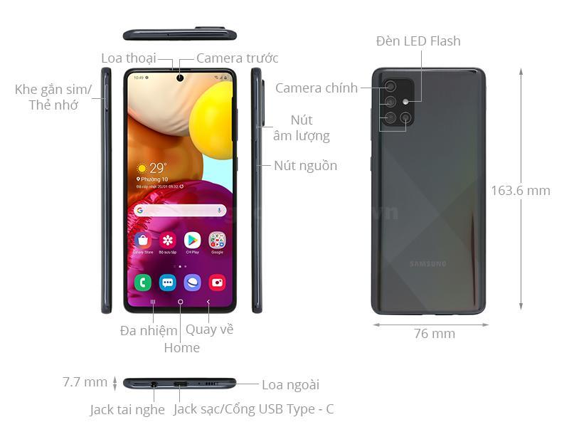 thiết kế Samsung Galaxy A71 2020